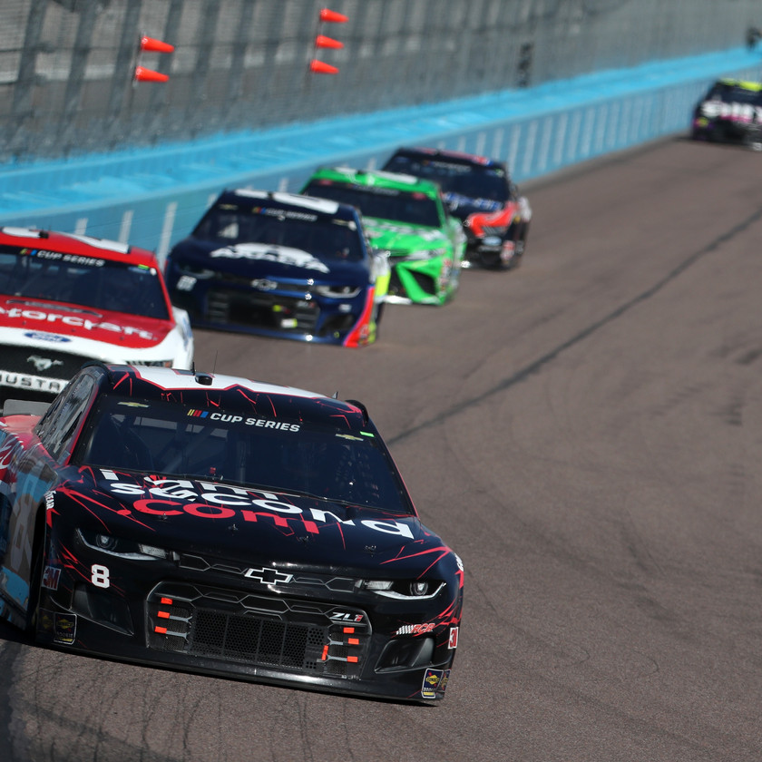 Tyler Reddick, driver of the #8 I Am Second Chevrolet, leads a pack of cars during the NASCAR Cup Series FanShield 500 at Phoenix Raceway on March 08, 2020 in Avondale, Arizona. (Photo by Chris Graythen/Getty Images)