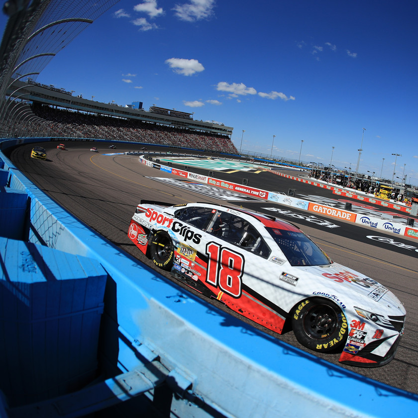 Kyle Busch, driver of the #18 Sport Clips Toyota, leads a pack of cars during the NASCAR Cup Series FanShield 500 at Phoenix Raceway on March 08, 2020 in Avondale, Arizona. (Photo by Chris Graythen/Getty Images)