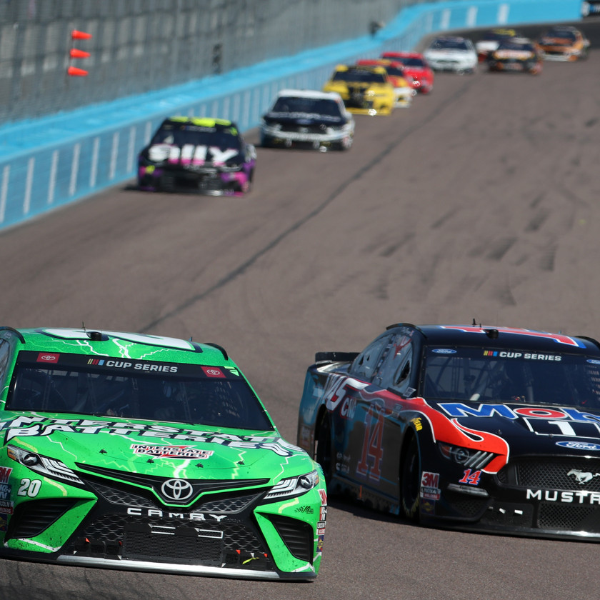 Erik Jones, driver of the #20 Interstate Batteries Toyota, leads a pack of cars during the NASCAR Cup Series FanShield 500 at Phoenix Raceway on March 08, 2020 in Avondale, Arizona. (Photo by Chris Graythen/Getty Images)