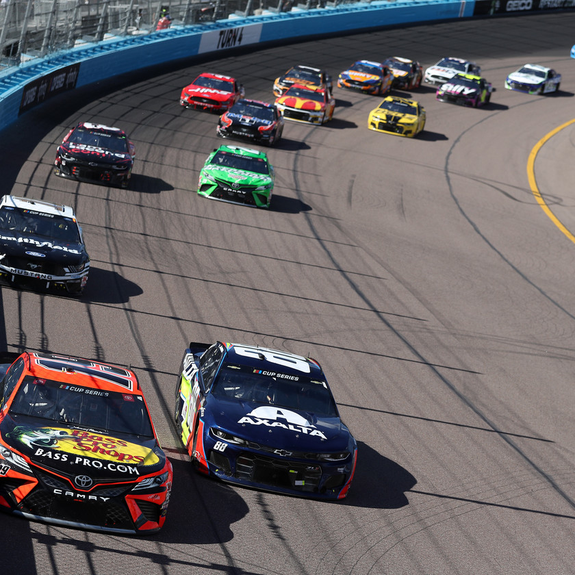 Martin Truex Jr., driver of the #19 Bass Pro Shops Toyota, leads a pack of cars during the NASCAR Cup Series FanShield 500 at Phoenix Raceway on March 08, 2020 in Avondale, Arizona. (Photo by Chris Graythen/Getty Images)