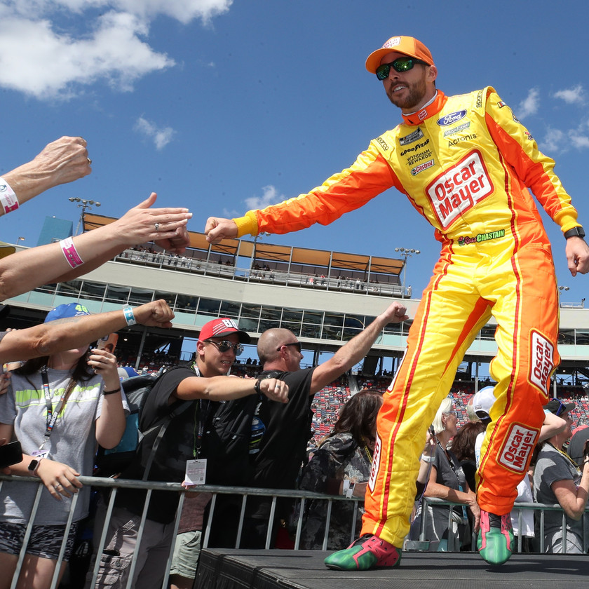 Ross Chastain, driver of the #6 Oscar Mayer Ford, high fives fans during driver introductions to the NASCAR Cup Series FanShield 500 at Phoenix Raceway on March 08, 2020 in Avondale, Arizona. (Photo by Christian Petersen/Getty Images)