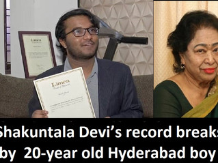 Shakuntala Devi's record breaks by 20-year old Hyderabad boy ; becomes fastest human calculator