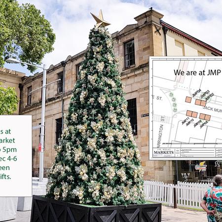 Find us in front of JMP10 Jack Mudey The Rocks Market.