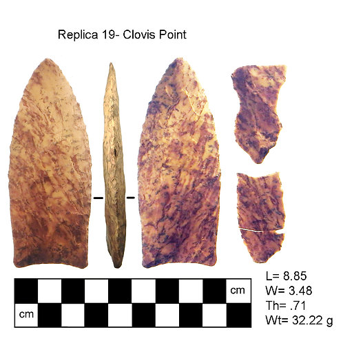 replica #19- Clovis Point and channel flakes