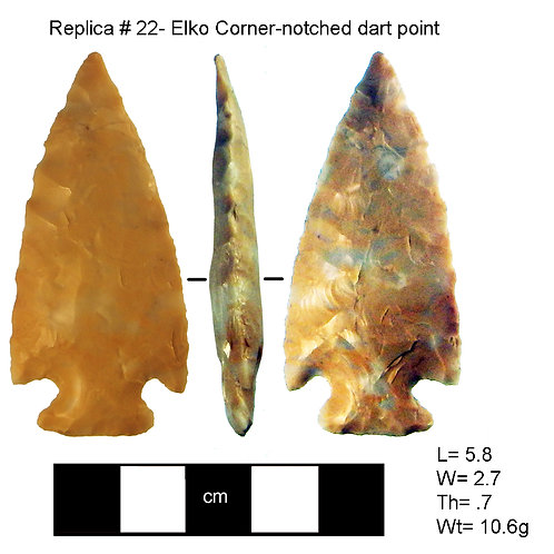 Replica #22 - Elko Corner-notched dart point