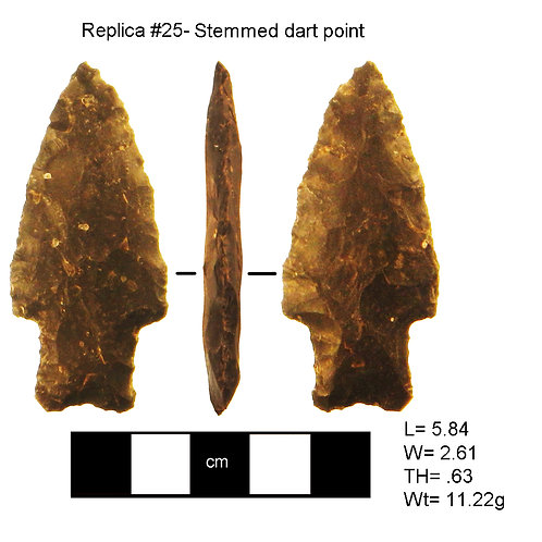 Replica #25- Stemmed dart point