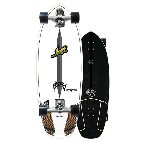 """2021   Lost x Carver C7 Raw 30.5"""" Puddle jumper Surfskate Complete"""