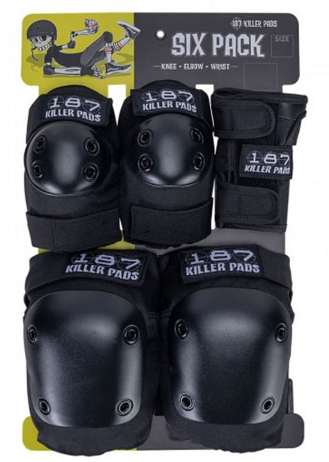 187 Six Pack of Adult Pads - Black, LG/XL