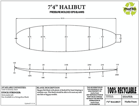 "7'4"" HALIBUT MARKO FOAM"