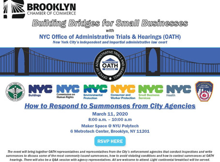Brooklyn Chamber Summons from the City-   March 11th FREE Event 8:00am - 10am