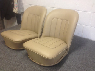 Triumph seats revived in old beige vinyl