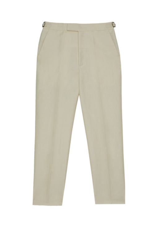 SILK BLENDED WOOL TROUSERS