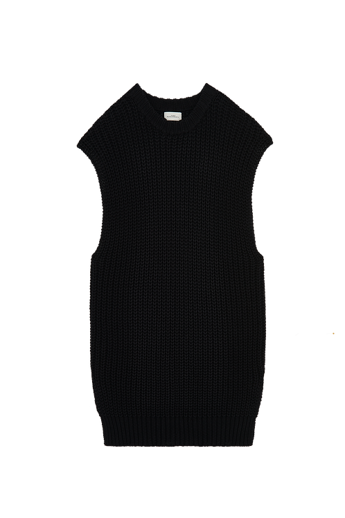 BLACK  KNITTED SLEEVES SWEATER