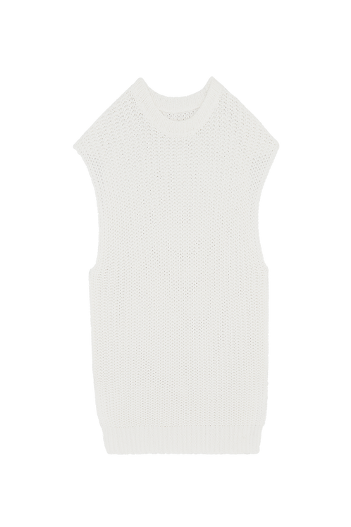 IVORY KNITTED SLEEVELESS SWEATER