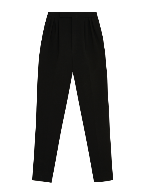 BLACK PLEATED CREPE TROUSERS