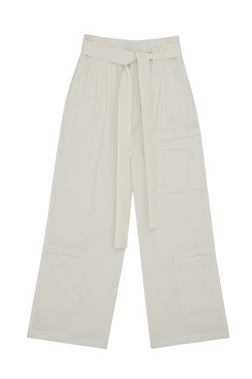 WHITE CARGO POCKET TROUSERS