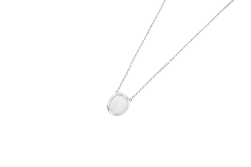 WHITE STONE SIGNET NECKLACE