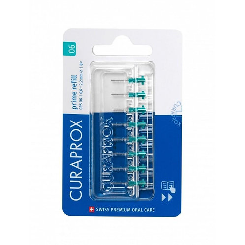 """""""Curaprox CPS 06"""" tarpdančių šepetėliai be kotelio, >0.6 mm tarpams, 8 vnt."""