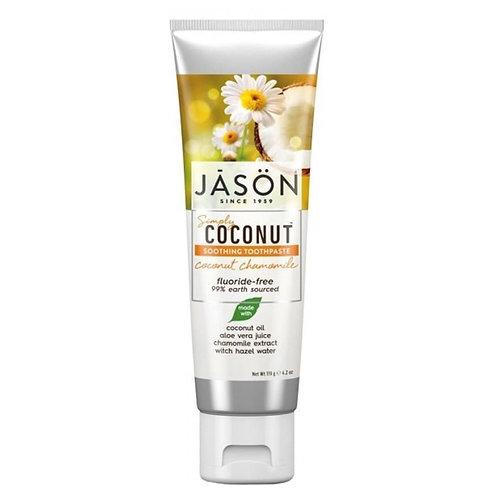 """""""Jason Simply Coconut"""" stiprinamoji dantų pasta su kokosais, ramunėlėmis, 119 ml"""
