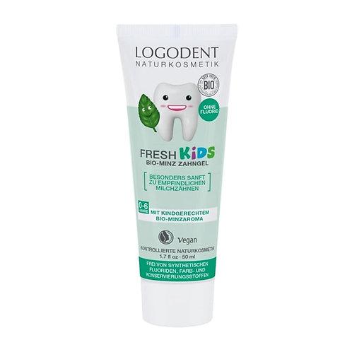 """""""Logodent Fresh Kids"""" ekologiškas dantų valymo gelis su pipirmėtėmis, 50 ml"""