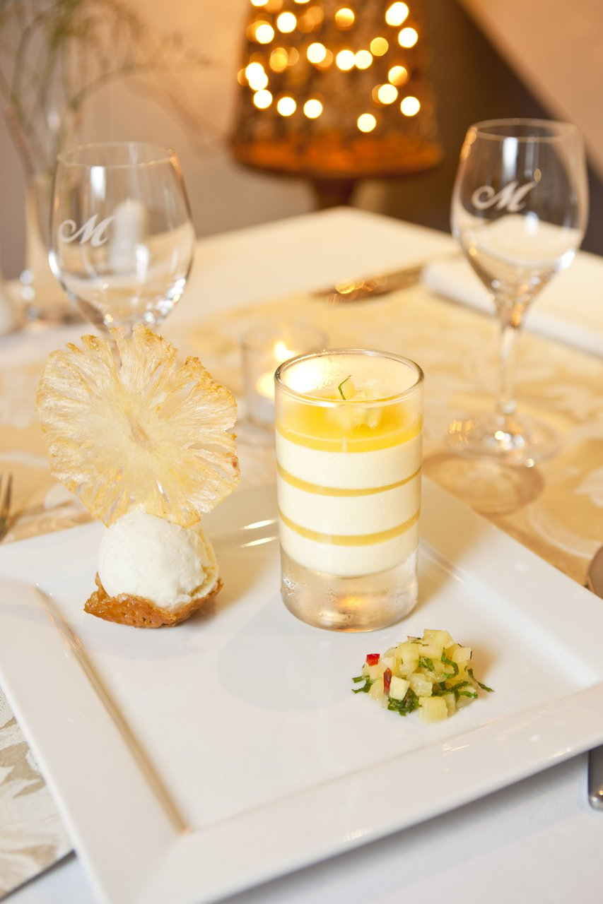 Pineapple and coconut pannacotta