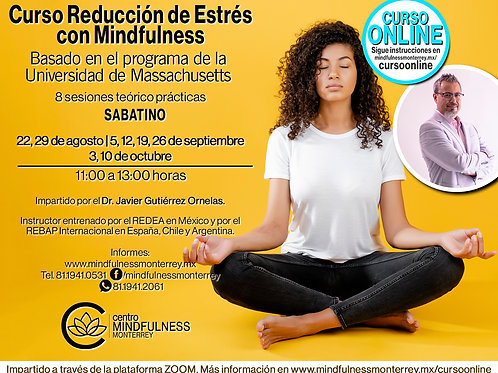 Curso de reducción de estrés con Mindfulness ONLINE - 22 de Ago (pago 3 de 3)