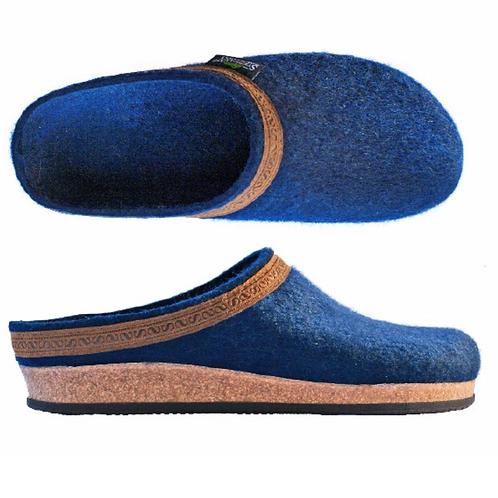 Slip in sko/ tøffel i ullfilt for damer, Ozean blå.