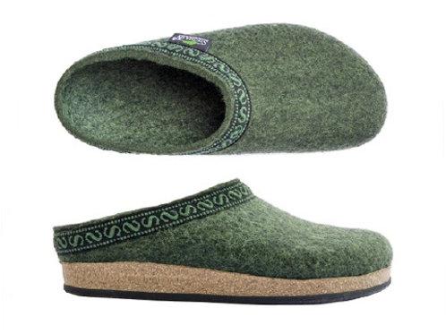 Slip in sko/ tøffel i ullfilt for herrer, oliven grønn