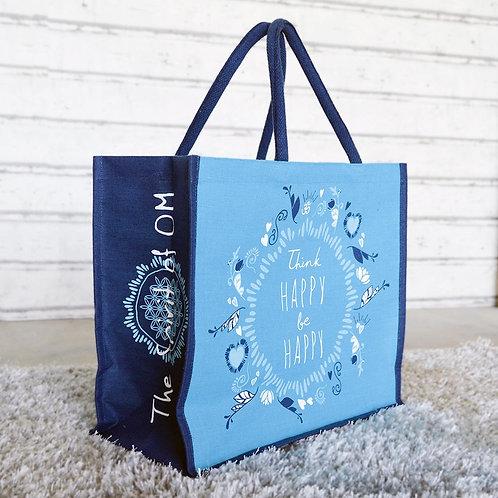 Bag i jute m/ Flower of life ornament.