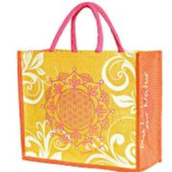 Bag i jute m/ Flower of life ornament.