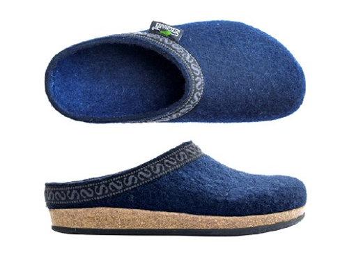 Slip in sko/ tøffel i ullfilt for herrer, jeans blå