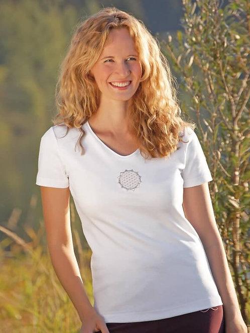 T-skjorte korte armer, hvit med broderi Flower of Life