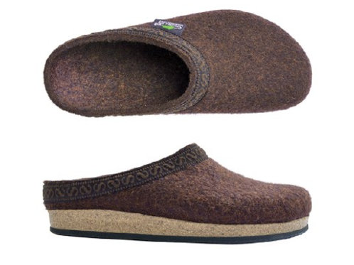 Slip in sko/ tøffel i ullfilt for herrer, brun