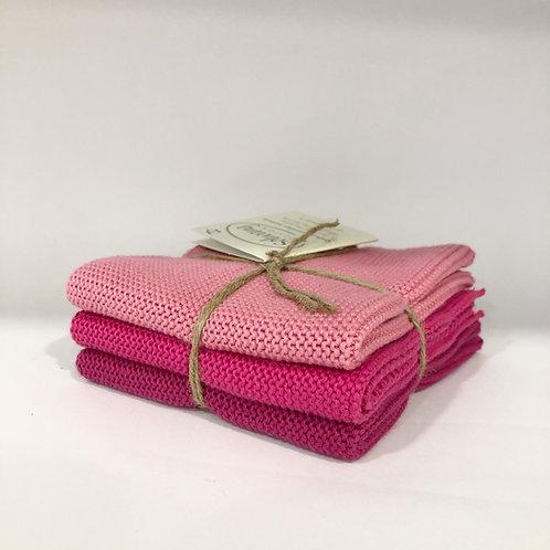 3er Set Wischlappen, pink