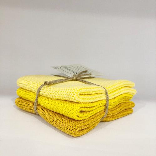 3er Set Wischlappen, gelb
