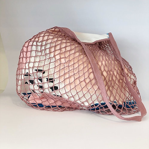 Netz-Stofftasche gefüttert Rosa