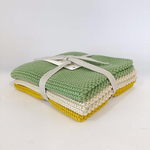 3er Set Tücher Grün, Beige, Senf