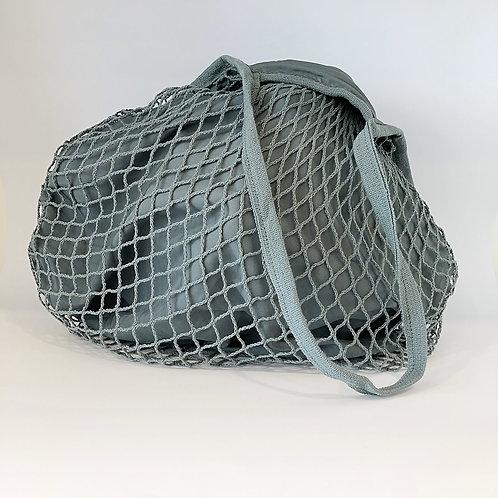 Netz-Stofftasche gefüttert Grau