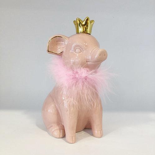 Sparschwein mit Krone, rosa