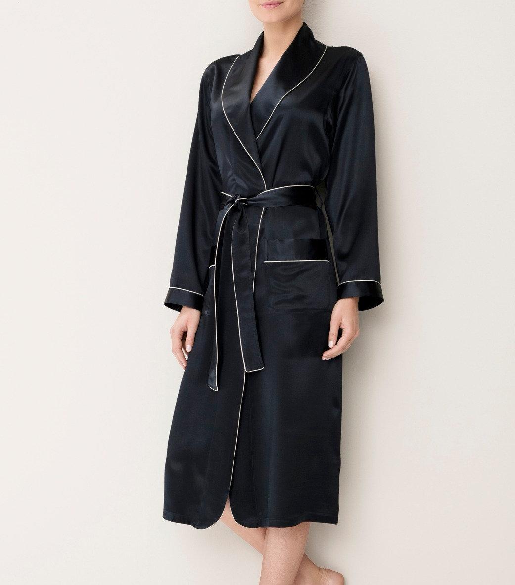 Zimmerli Silk Dressing Gown Navy 38211 Braspectrum