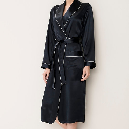 Zimmerli Silk Dressing Gown Navy 38211