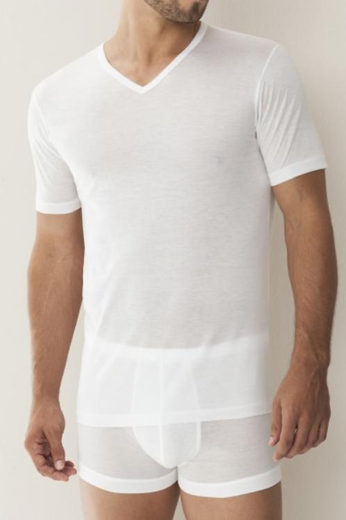 Zimmerli Mens V-Neck T-Shirt Short Sleeve 8122 White