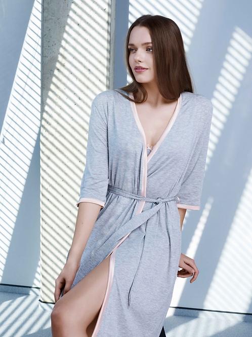 Sermija Pink and Grey Robe H4817N