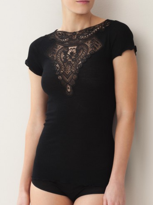 Zimmerli Short Sleeve Black Top 2907