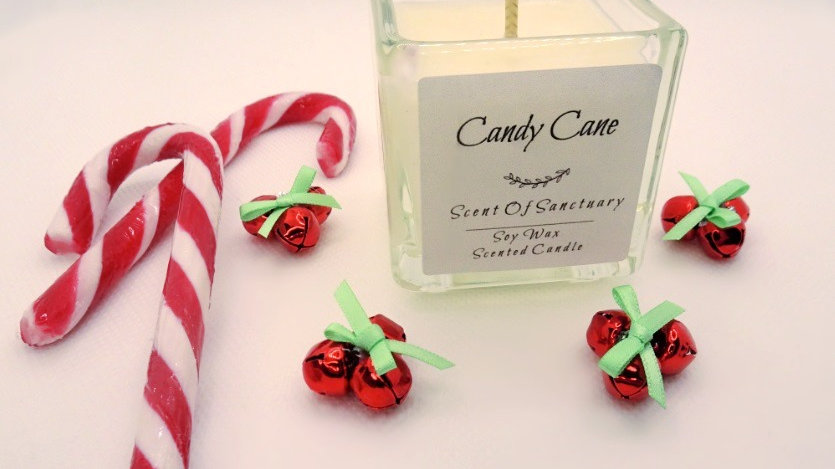Candy Cane Scented Candle - SMALL