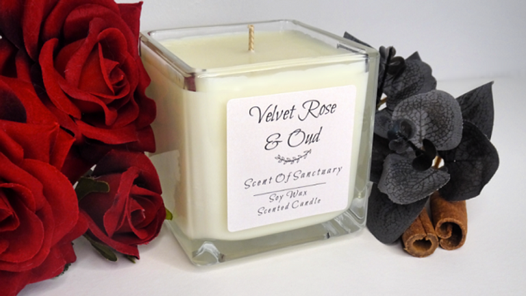 Velvet Rose & Oud Scented Candle - SMALL