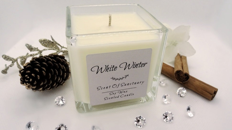 White Winter Scented Candle Large