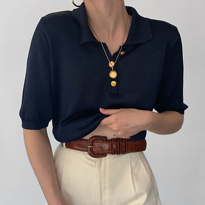 Vintage Midnight Silk Knit Gold Buttoned Polo