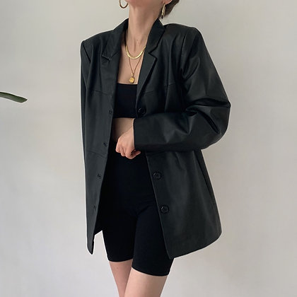 Essential Vintage Noir Leather Blazer Jacket