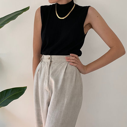 Vintage Oatmeal High-Waisted Wide Leg Linen Trousers (27W)